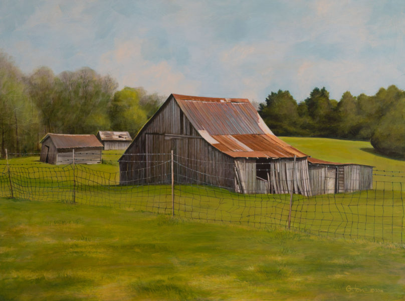 Barn Associates, acrylic painting by Daniel Coston, of an old barn with outbuildings behind the main barn.