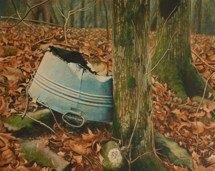 An acrylic painting of an old, rusty washtub leaning up against the side of a tree. The background is covered with a carpet of rusty leaves.