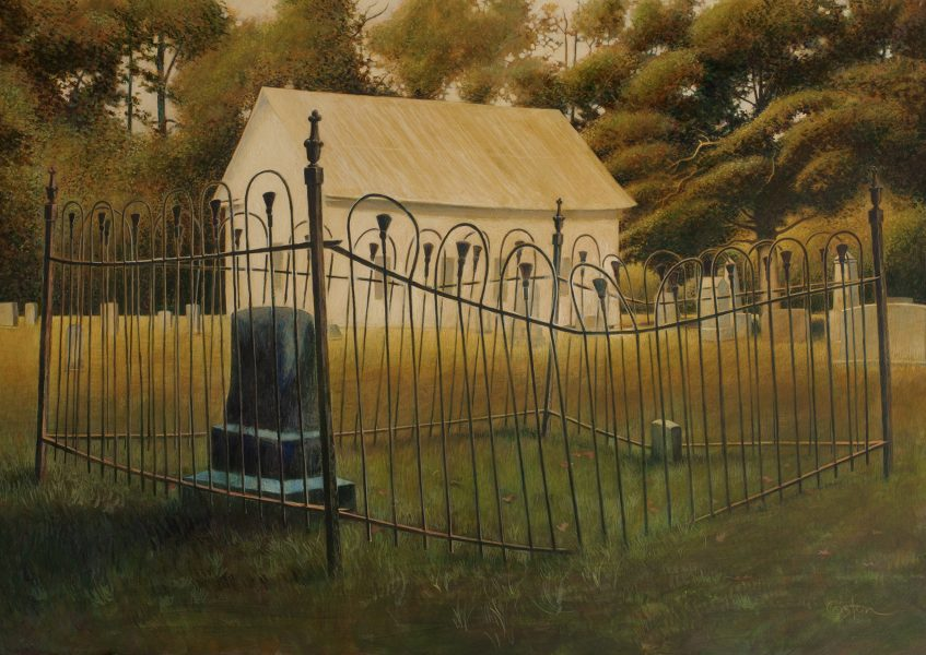 Daniel Coston's painting of Old Troy Church in southeast Arkansas. Copyright 2019