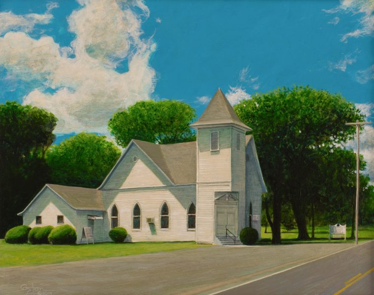 """Sherrill Methodist Church"" painting of a rural country church in Sherrill Arkansas. Painting is by artist Daniel Coston, copyright 2019"
