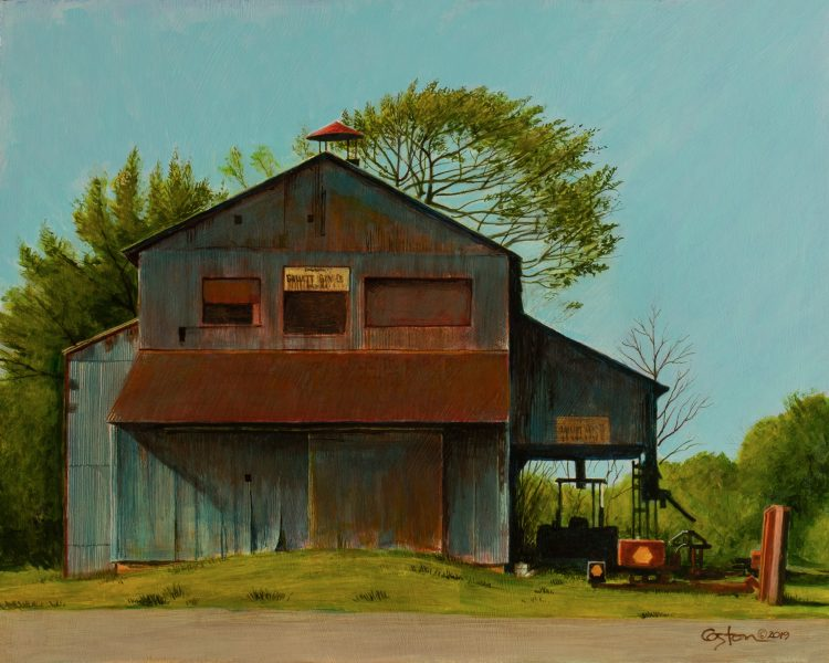 Daniel Coston's painting of an old cotton gin in Watson, Arkansas. Copyright 2019