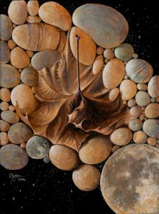 Surrealistic acrylic painting by Daniel Coston of a collage of moons, river rocks, and a Sycamore leaf.