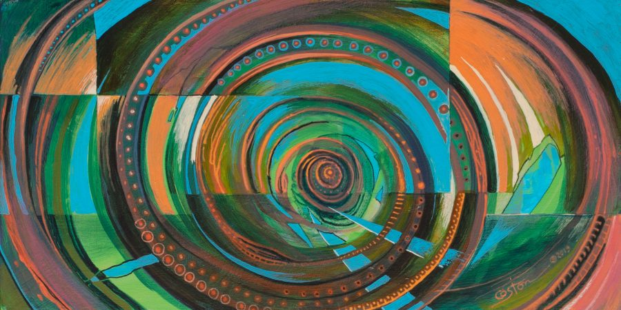 """Cyclotron"" is an acrylic painting by artist Daniel Coston"
