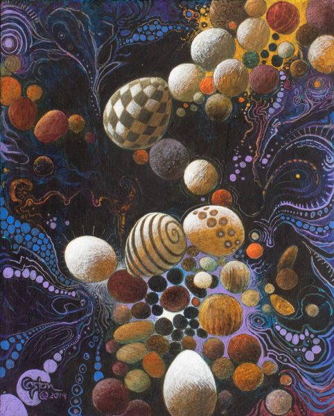"""Easter Egg Galaxy"" is an acrylic painting by artist Daniel Coston"