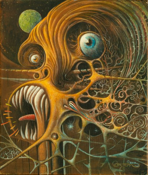 """The Cousin of Cthulhu Signing"" is an acrylic painting by artist Daniel Coston"