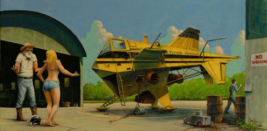 """Trouble at the Flying Service"" is an acrylic painting by artist Daniel Coston"